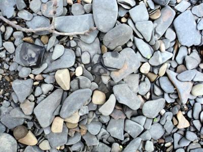 broken bits of shale tumble