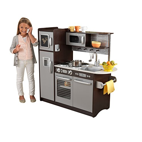 ef57387b790 KidKraft Uptown Espresso Kitchen is one of the best kids kitchen set on the  market today. It comes with a modern