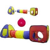 Playz 7pc Kids Playhouse Pop Up Play Tent Crawl Tunnel & Ball Pit with Basketball Hoop